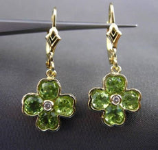ESTATE 2.04CT DIAMOND & PERIDOT 14K YELLOW GOLD 3D FLOWER HANGING EARRINGS 24387
