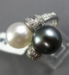 LARGE .30CT DIAMOND & AAA TAHITIAN & SOUTH SEA PEARL 18K WHITE GOLD 3D LOVE RING