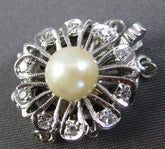 ANTIQUE .10CT OLD MINE DIAMOND & AAA SOUTH SEA PEARL 14K WHITE GOLD 3D NECKLACE