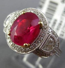 ESTATE LARGE EGL 3.76CT DIAMOND & RUBY 18K TWO TONE GOLD 3 STONE ENGAGEMENT RING