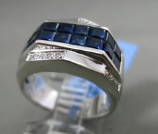 ESTATE WIDE 3.70CT DIAMOND & AAA PRINCESS SAPPHIRE 18KT WHITE GOLD 3D MENS RING