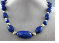 ESTATE LARGE & LONG AAA LAPIS 14K YELLOW GOLD 3D OVAL SQUARE GRADUADING NECKLACE