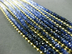ESTATE LARGE SAPPHIRE 18K YELLOW GOLD 3D DIAMOND CUT BEADS MULTI STRAND BRACELET