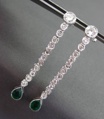 ANTIQUE 2.30CTW DIAMOND & AAA EMERALD 14KT WHITE GOLD DROP HANGING EARRINGS 2915