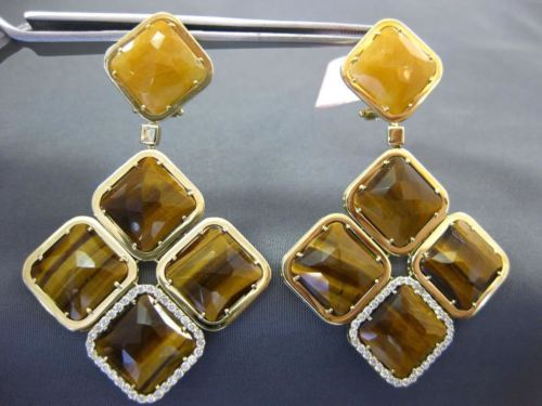 LARGE .80CT DIAMOND & TIGER EYE & QUARTZ 14K YELLOW GOLD SQUARE HANGING EARRINGS