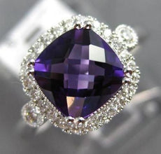 1.59CT DIAMOND & AAA AMETHYST 14KT WHITE GOLD 3D SQUARE CLASSIC ENGAGEMENT RING