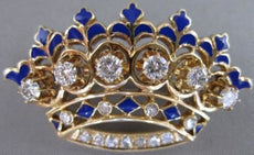 ANTIQUE 1.26CTW DIAMOND 14K YELLOW GOLD BLUE ENAMEL CROWN PIN PENDANT #20798