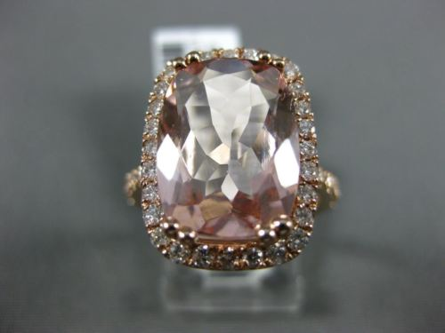 EXTRA LARGE 6.85CT DIAMOND & AAA CUSHION MORGANITE 14K ROSE GOLD ENGAGEMENT RING
