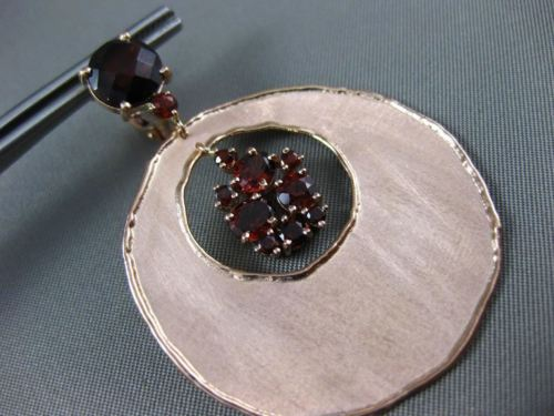 ESTATE LARGE 7.70CT AAA GARNET 14KT ROSE GOLD 3D MATTE CLIP ON HANGING EARRINGS