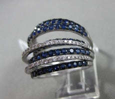 ESTATE LARGE 4.05CT DIAMOND & AAA SAPPHIRE 18KT WHITE GOLD 3D MULTI ROW FUN RING