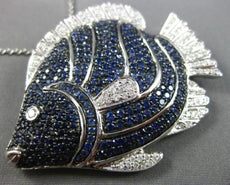 LARGE 5.53CT DIAMOND & AAA SAPPHIRE 18KT WHITE GOLD 3D HAPPY LUCKY FISH PENDANT