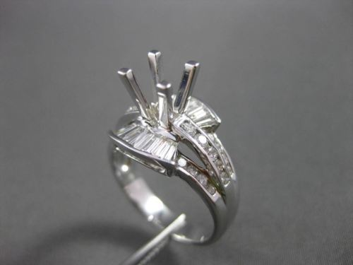 ESTATE WIDE .90CT DIAMOND 18KT WHITE GOLD 3D SEMI MOUNT ENGAGEMENT RING #18545