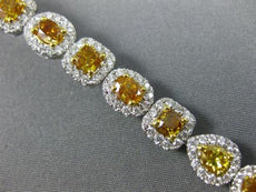 GIA WIDE 10.54CT MULTI COLOR DIAMOND 18KT TWO TONE GOLD CLASSIC TENNIS BRACELET