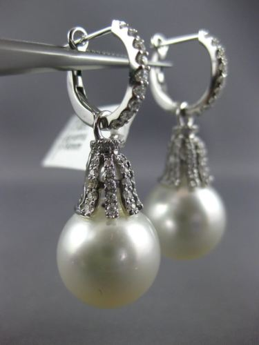 LARGE .60CT DIAMOND & AAA SOUTH SEA PEARL 18K WHITE GOLD HUGGIE HANGING EARRINGS