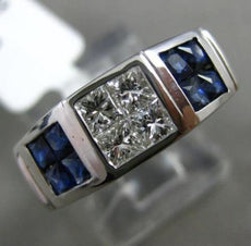 ESTATE 1.81CT PRINCESS DIAMOND & SAPPHIRE 14KT WHITE GOLD 3D SQUARE MENS RING