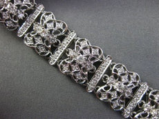 ESTATE WIDE & LONG 2.77CT DIAMOND 18KT WHITE GOLD FILIGREE HANDCRAFTED BRACELET