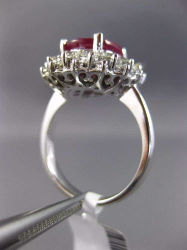 LARGE 6.50CT DIAMOND & AAA OVAL RUBY 14KT WHITE GOLD 3D FILIGREE ENGAGEMENT RING