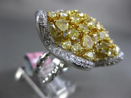 GIA EXTRA LARGE 7.95CT WHITE & FANCY YELLOW DIAMOND 18K 2 TONE GOLD 3D STAR RING