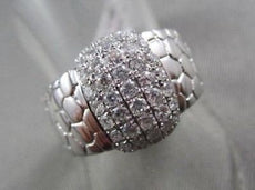 ANTIQUE WIDE .80CT ROUND DIAMONDS 14K WHITE GOLD HANDCRAFTED BRICK COCKTAIL RING
