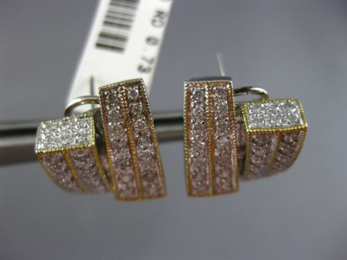 WIDE .73CT DIAMOND 14KT WHITE GOLD 3D CRISS CROSS RECTANGULAR CLIP ON EARRINGS