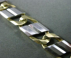 ESTATE WIDE & EXTRA LONG 14KT TWO TONE GOLD SOLID ITALIAN MENS & WOMEN BRACELET