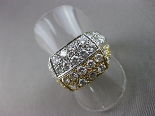 ESTATE WIDE 2.70CT ROUND DIAMOND 14KT W&Y GOLD SQUARE MENS RING HANDSOME #821