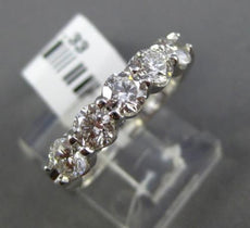 ESTATE 1.33CT DIAMOND 14KT WHITE GOLD CLASSIC 5 STONE SHARED PRONG WEDDING RING