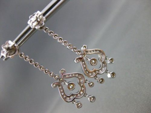 ANTIQUE 1.96CT DIAMOND 14KT WHITE GOLD FILIGREE HANGING CHANDELIER EARRINGS 1680