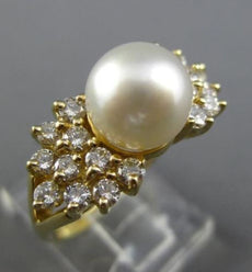 WIDE .58CT DIAMOND & SOUTH SEA PEARL 14KT YELLOW GOLD MULTI ROW BOW TIE FUN RING