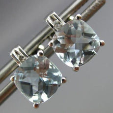 ESTATE 1.77CT DIAMOND & AQUAMARINE 14KT WHITE GOLD CLASSIC SQUARE STUD EARRINGS