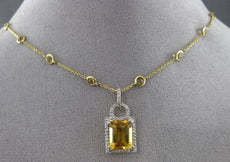 ESTATE LARGE 5.13CT DIAMOND & TOPAZ 14K YELLOW GOLD 3D HALO BY THE YARD NECKLACE