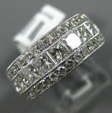 WIDE 2.29CT ROUND & PRINCESS DIAMOND 18KT WHITE GOLD SEMI ETERNITY WEDDING RING