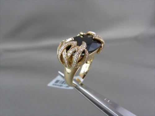ESTATE WIDE 14KT YELLOW 13.07CT SMOKEY TOPAZ & DIAMOND FLOWER COCKTAIL RING