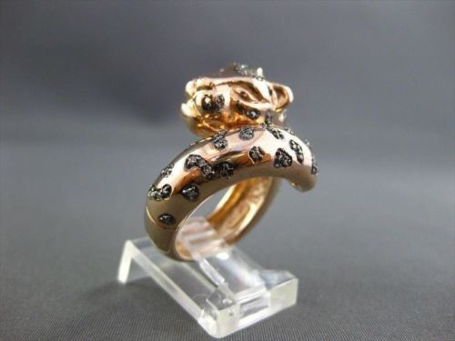 ESTATE WIDE .49CT FANCY YELLOW DIAMONDS 14KT ROSE GOLD TIGER RING AMAZING!!!