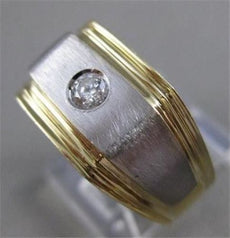 ESTATE .25CT ROUND DIAMOND 14KT WHITE Y GOLD SOLID STRIPED MENS RING 10MM #17572