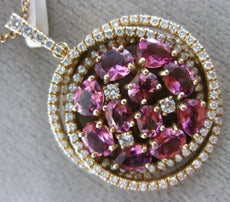 LARGE 3.23CT DIAMOND & AAA PINK SAPPHIRE 14KT ROSE GOLD CIRCULAR CLUSTER PENDANT
