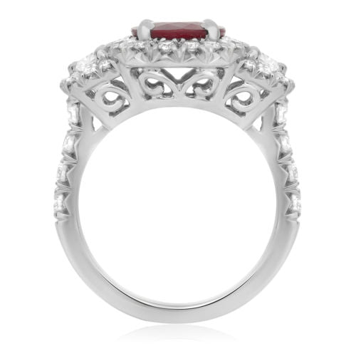 GIA CERTIFIED 3.89CT DIAMOND & AAA RUBY PLATINUM 3D 3 STONE HALO ENGAGEMENT RING