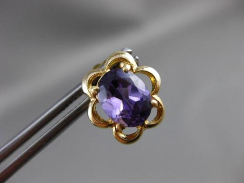 ANTIQUE 2.20CT AAA EXTRA FACET AMETHYST 14K YELLOW GOLD 3D FLOWER EARRINGS 24264