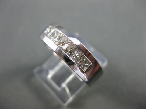 ESTATE 1.25CT DIAMOND 14KT WHITE GOLD 5 STONE PRINCESS ANNIVERSARY RING #16915