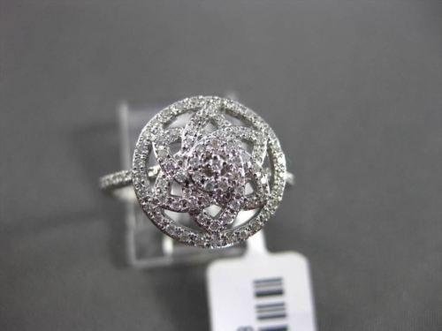 ESTATE WIDE .33CT DIAMOND 14KT WHITE GOLD OPEN FLORAL STAR COCKTAIL FUN RING