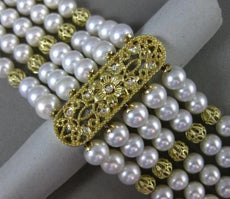 ESTATE LARGE .12CT DIAMOND & PEARL 14KT YELLOW GOLD MULTI STRAND TOGGLE BRACELET