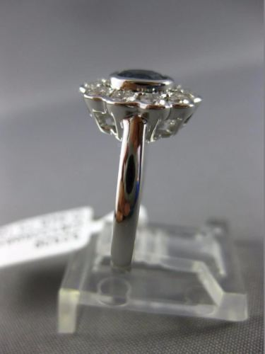 ESTATE 1.37CT DIAMOND & SAPPHIRE 18KT WHITE GOLD 3D FLOWER HALO ENGAGEMENT RING