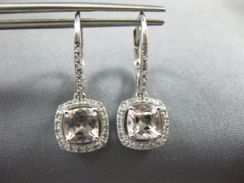 1.84CT AAA WHITE SAPPHIRE & MORGANITE 14KT WHITE GOLD LEVERBACK HANGING EARRINGS