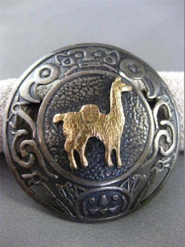 ANTIQUE LARGE 18K YELLOW GOLD & 925 SILVER CAMEL LAMA FILIGREE PIN BROOCH #24320