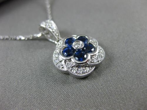 ESTATE 1.05CT DIAMOND & AAA SAPPHIRE 14KT WHITE GOLD 3D FLOWER FILIGREE PENDANT