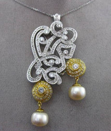 ANTIQUE MASSIVE 2.90CT DIAMOND & PEARL 18K TWO TONE GOLD FILIGREE PENDANT BROOCH