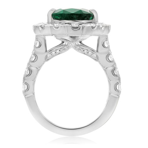 GIA CERTIFIED 9.10CT DIAMOND & AAA EMERALD PLATINUM PEAR SHAPE ENGAGEMENT RING