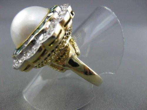 ANTIQUE LARGE 3.09CT DIAMOND & EMERALD & SAPPHIRE NATURAL MABE PEARL RING #1873