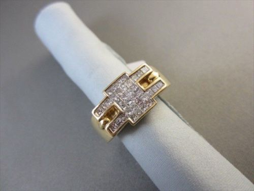 14KT WHITE & YELLOW GOLD WIDE 1.05CT DIAMOND PRINCESS CUT MENS RING SHARP!!