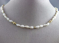 ESTATE LONG AAA PEARLS 14KT YELLOW GOLD BEADED BY THE YARD FUN NECKLACE #26127